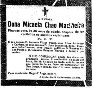 Esquela Micaela Chao