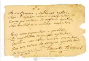 Manuscrito original do poema que E. Pondal dedicou a Pilar Castillo em 1909